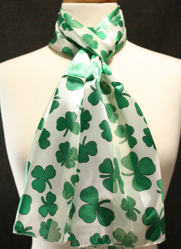 "Shamrocks four leaf clovers gift scarf Irish St. Patrick Day 56"" long silk feel"