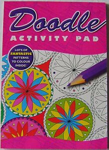NEW DOODLE ACTIVITY PAD COLOURING BOOK LOTS OF PATTERNS TO COLOUR IN PINK DOAP3
