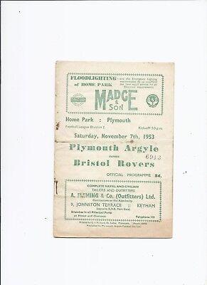 Plymouth Argyle v Bristol Rovers 7 November 1953