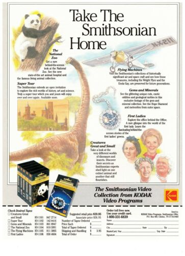 1990 Smithsonian Kodak Video Collection Documentary Vintage Print Advertisement