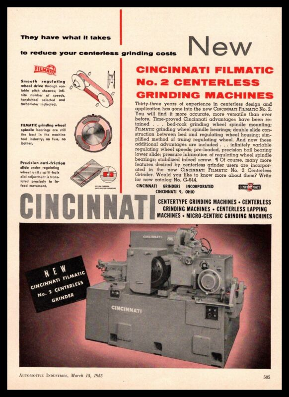 1955 Cincinnati Ohio Filmatic No 2 Centerless Grinding Machines Vintage Print Ad