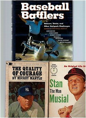 MICKEY MANTLE, STAN MUSIAL & BASEBALL BAFFLERS BOOK (Set of 3) $9.95