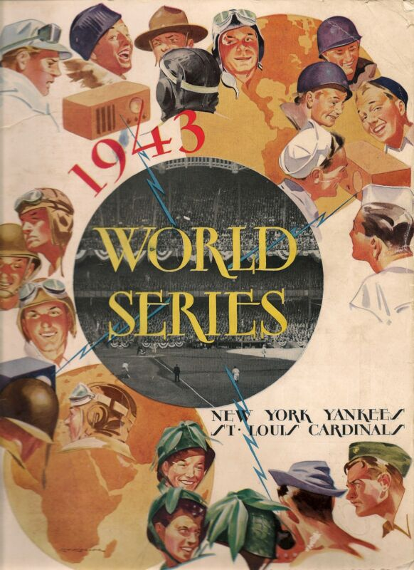 1943 World Series Program Yankees-Cardinals Game 2 Redbirds Even Series!!