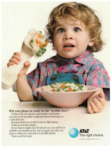 1990 AT&T Terrible Twos Reliable Home Phone Vintage Print Advertisement