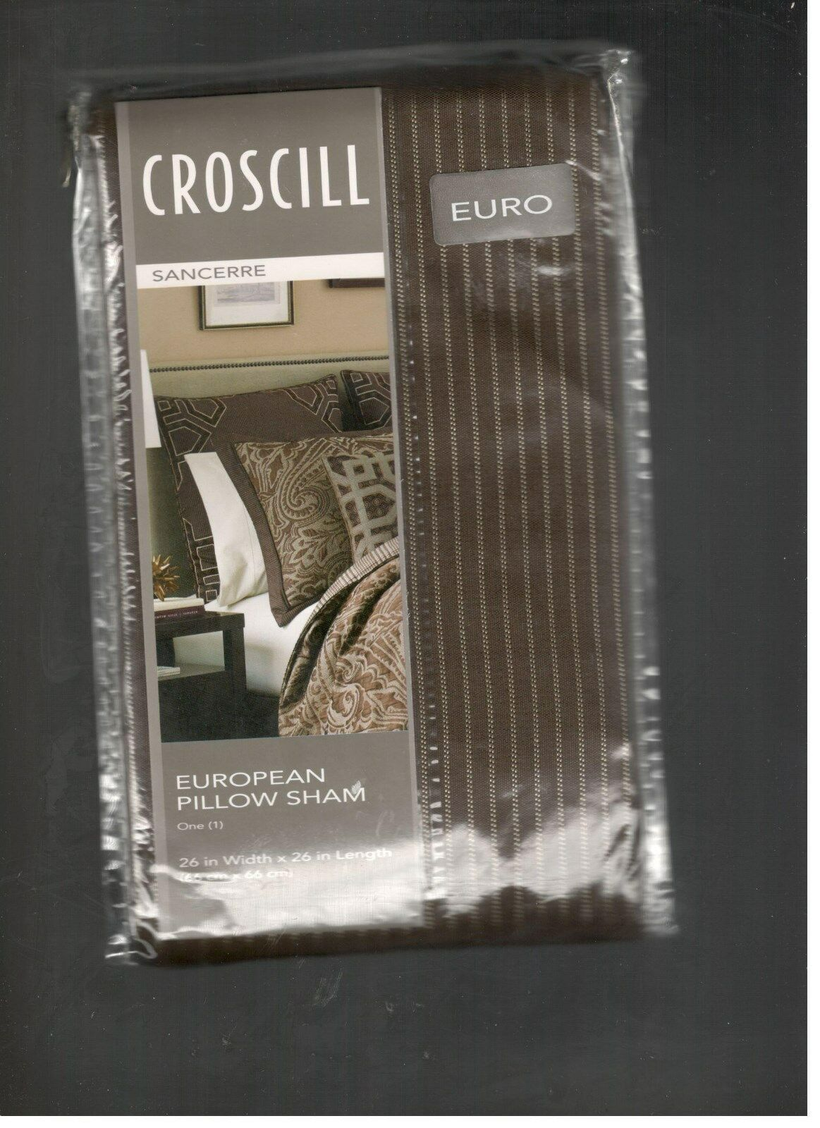 Croscill Euro Shams Set Of 2 Sancerre Chocolate Nwt