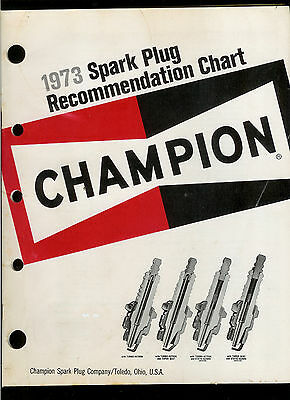 Rare Nice Clean Vintage 1973 Champion Spark Plug Recommendation Chart