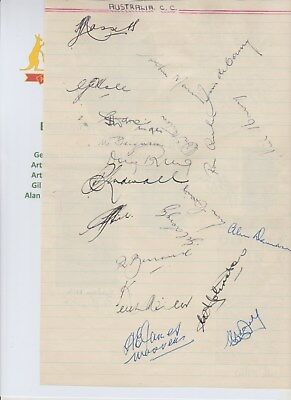 AUSTRALIA CRICKET ASHES 1953 RARE ORIG HAND SIGNED XL BOOK PAGE 26 X AUTOGRAPHS