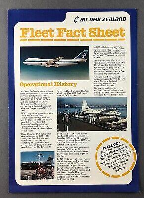 AIR NEW ZEALAND FLEET FACT SHEET DOUGLAS DC-8 DC-10 BOEING 747 737 F27