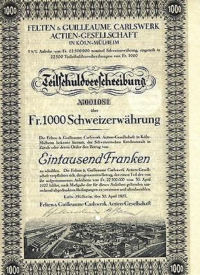 Felten & Guilleaume Carlswerk AG Köln Mülheim hist. Anleihe + Kup. 1927 PKI Bonn