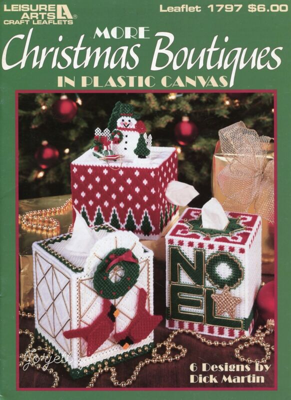 More Christmas Boutiques, Holiday Tissue Covers plastic canvas pattern book NEW