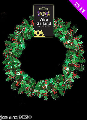 7.6M GREEN HOLLY LEAVES & BERRIES WIRED TINSEL GARLAND CHRISTMAS TREE DECORATION