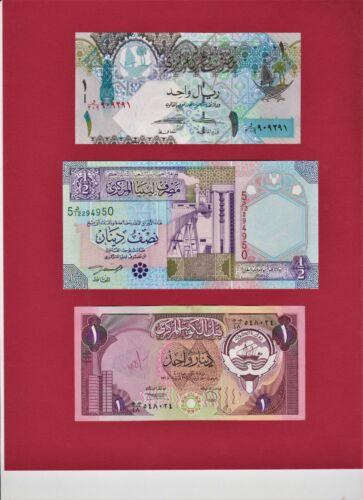 MIDDLE EAST NOTES: 1 Riyal 2008 P-28, 1/2 Dinar 2002 P-63, & 1 Dinar 1980 (P-13)