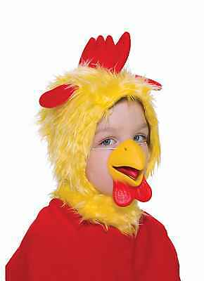 CHILD CHICKEN ANIMAL YELLOW HOOD & RUBBER NOSE Ears Hat Costume Plush Mask Set