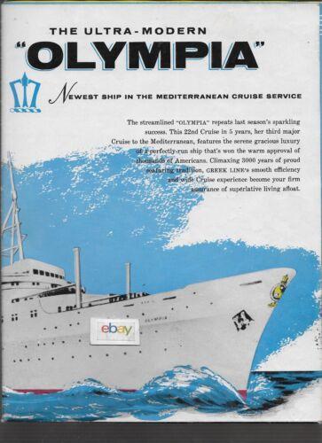 "GREEK LINE TSS OLYMPIA DECK PLANS & BROCHURE 34"" X 44"" 1959 BLACK SEA CRUISE"