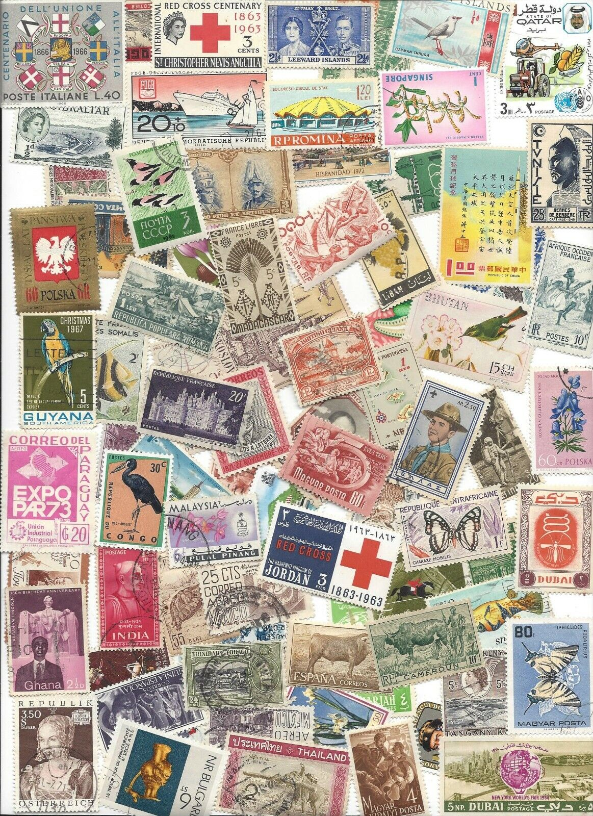 75 Different Cancelled Worldwide Stamps 2/14 - $1.65