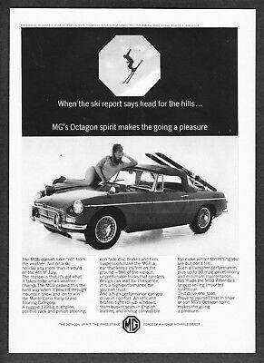 "1965 MG MGB Convertible Ski Rack & Woman photo ""Head for the Hills"" print ad"