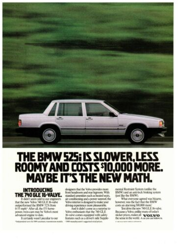 1990 Volvo 740 GLE 16-Valve White Sedan BMW Compare Vintage Print Advertisement