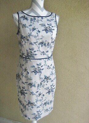 Ann Taylor taupe tan w/blue brocade design sleeveless fitted line sheath dress 6](Brocade Dress Designs)
