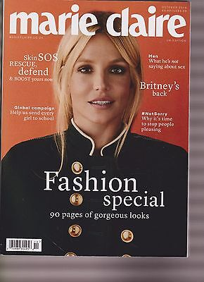MARIE CLAIRE MAGAZINE UK OCTOBER 2016, BRITNEY SPEARS PHOTO COVER.