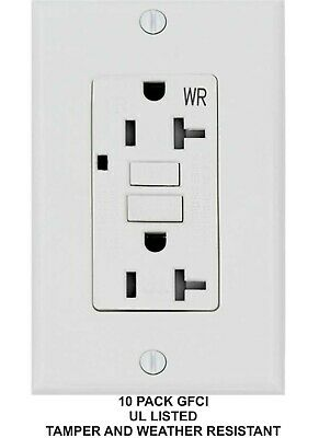 20 Amp Gfci Gfi Receptacle Outlet -tamper Resistant Tr Wr White Ul 10pack