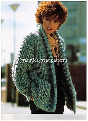 VINTAGE  Crochet Ladies  Casual JACKET Shawl collar  Laminated PATTERN