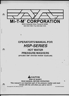 Mi-t-m Corporation Operators Manual For Hsp-series Hot Water Pressure Washers