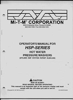 Mi-t-m Corporation Operators Manual For Hsp-series Hot Water Pressure Washers