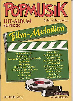 Akkordeon Keyboard Noten- FILM MELODIEN - POPMUSIK HIT-ALBUM SUPER 20-leicht