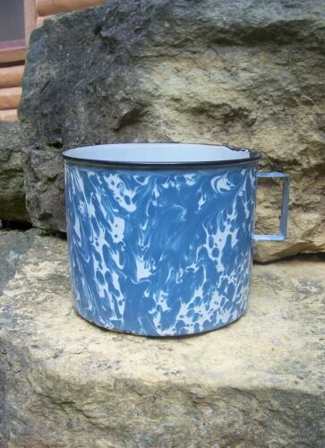 Antique End Of Day Blue White Swirl Graniteware Enamelware Mush Mug Coffee Cup