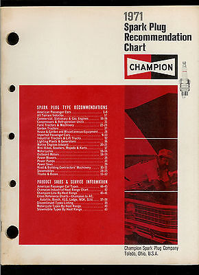 Rare Nice Clean Vintage 1971 Champion Spark Plug Recommendation Chart