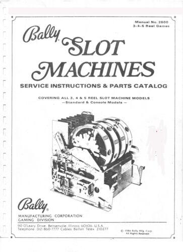 BALLY SLOT MACHINE MANUAL - ALL 3, 4, 5 REEL - PDF VERSION