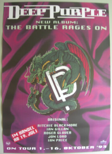 DEEP PURPLE GERMAN PROMO POSTER THE BATTLE RAGES ON 1993 RITCHIE BLACKMORE