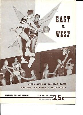 1955 NBA All Star Game Program @ New York East Bests West + Player's Gift