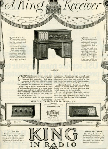 1925 Vintage Original KING-Hinners NEUTRODYNE RADIO Big Page Ad. Buffalo, NY