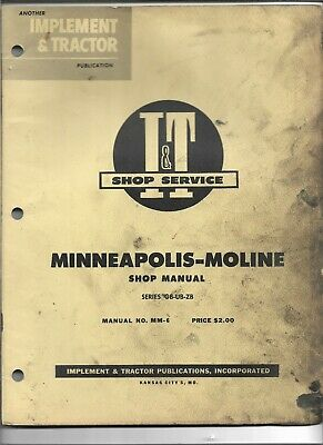 Mm-6 It Shop Service Manual For Minneapolis - Moline Tractors Series Gb Ub Zb