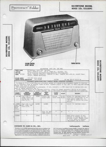 1948 PHOTOFACT Silvertone Model 8005 Receiver Radio #2584