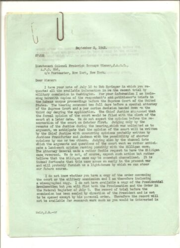 Original correspondence from John Weir JAG, Nazi Saboteur trial 1942
