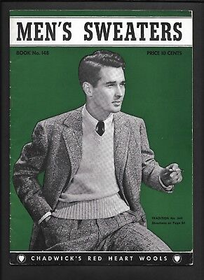 1940 Mens Sweater Knitting Patterns Chadwicks Wool Vintage Fashion Style Costume