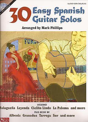 Gitarre Noten - 30 EASY SPANISH GUITAR SOLOS - u.a. Malaguena, La Paloma,Cielito