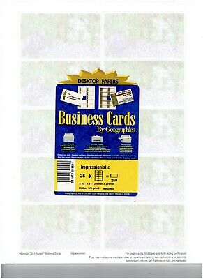 PRINTABLE BUSINESS CARDS ~ GEOGRAPHICS DESKTOP PAPERS ~ 250 CARDS ~ NEW SEALED Geographics Business Cards