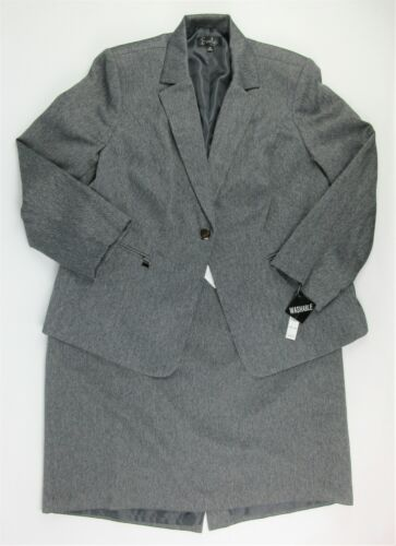 NWT $220 Emily Womens Plus Size 18W Jacket and Skirt Suit In Charcoal Gray