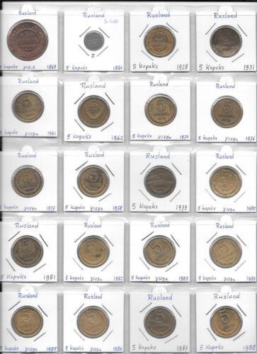 RUSSIA LOT OF 120 COINS 5 10 15 20 KOPEKS 1869 - 2013 AA2
