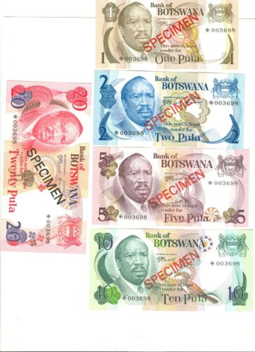 1979 BANK OF BOTSWANA SPECIMEN NOTES: 1, 2, 5, 10, 20 PULA - UNC