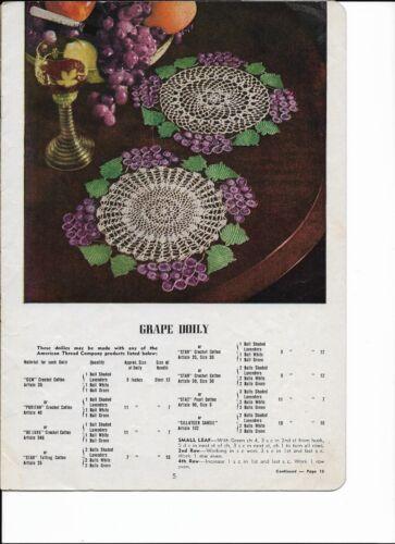 Vintage 1950 Crochet PATTERN for GRAPE Doily