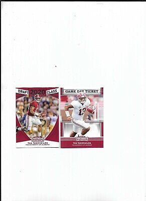 Tua Tagovailoa 2x RC Lot 2020 Panini Contenders Draft Class, Game Day Ticket #9