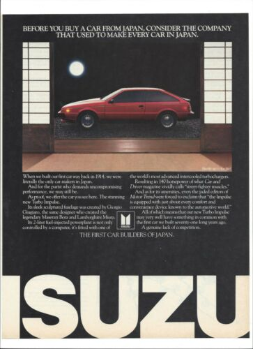 "Isuzu Japanese Car 1985 Original Print Ad 9 x 11"" Playboy Magazine"
