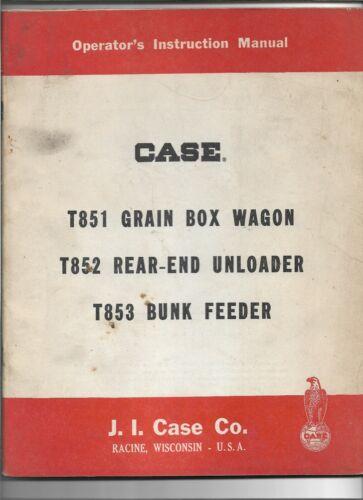 Original OE Case T851 Grain Box Wagon T852 Unloader T853 Feeder Operators Manual