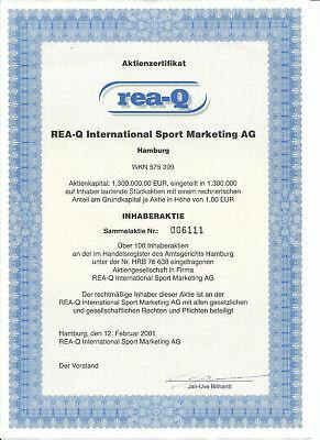 1 Sammelaktie der REA-Q International Sport Marketing AG von 2001