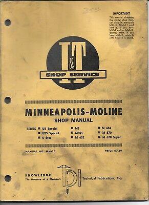 Mm-16 It Shop Service Manual Minneapolis Moline Ub Uts Special 5 Star M5 M504