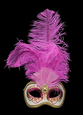 Mask from Venice Colombine IN Feathers Ostrich Rose-Mask Venetian - 1344 V78